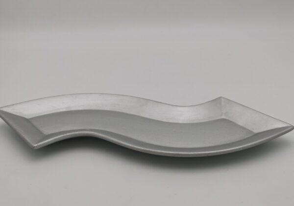Kerzenteller Silber geschwungen