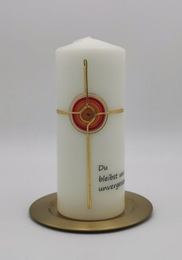 Trauerkerze Sonnen Kreuz