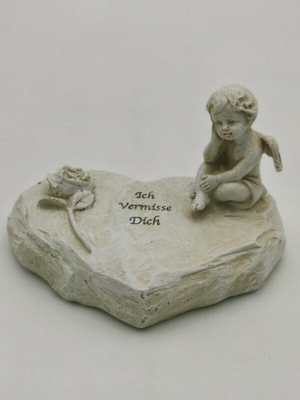 Trauerartikel Herz mit Engel und Spruch