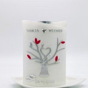 Hochzeitskerze Lebensbaum rot