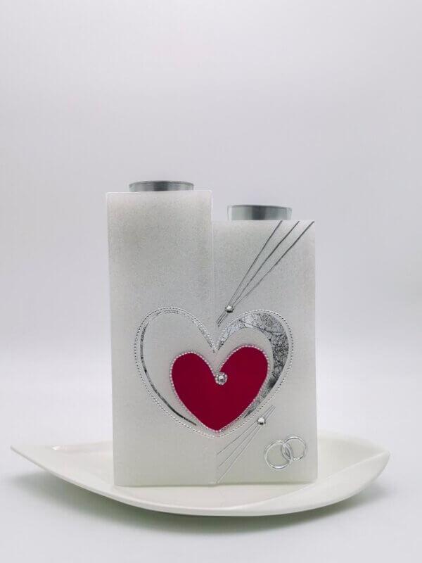 Hochzeitskerze Stufe Herz rot