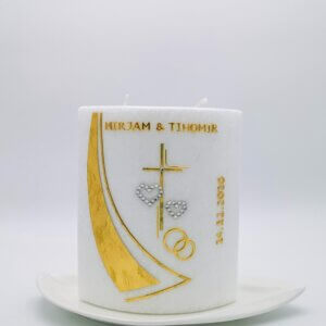 Hochzeitskerze Oval gold